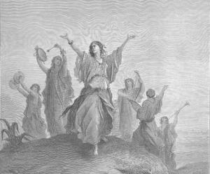De dochter van Jephte die aan het eind van het stuk beklaagd wordt